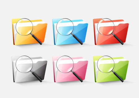 Set of colorful document file folder directory icon isolated and magnified glass on white grey, transparent vector