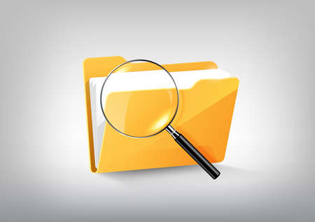 Yellow document file folder directory icon isolated and magnified glass on white grey, transparent vector
