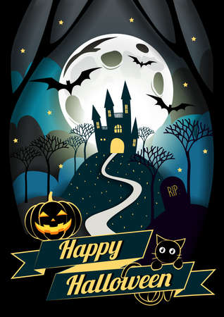 Flat Halloween Icon and Halloween Character, element design, Blue Halloween Background, Vector Illustration, Trick or Treat Concept, Castle, Pumpkin and Spider Web, Witch Hat, Candy, Bat and Cat