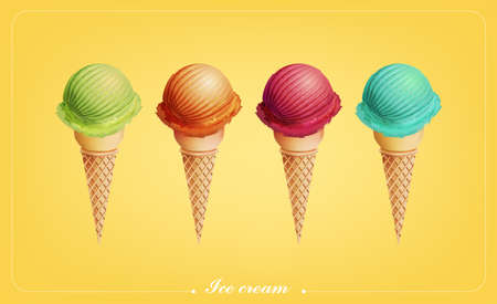 Colorful Ice cream in the cone, Different flavors, Vector  イラスト・ベクター素材