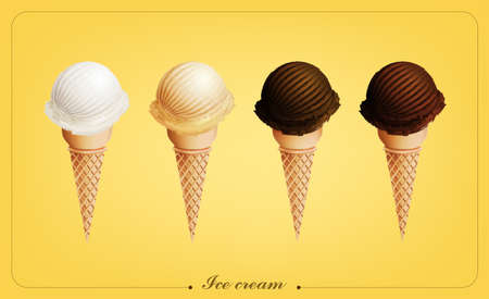 Ice cream in the cone, Different flavors, Vector