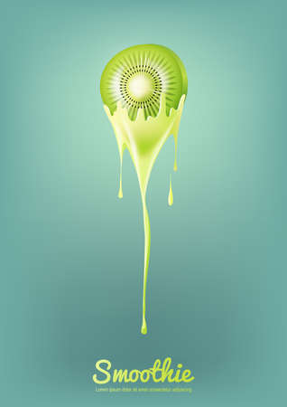 Green Kiwi Yogurt and Smoothie milk with fruit, Juice concept, Vector Illustration