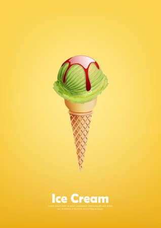 Green Ice cream in the cone, lemon, green tea, melon, Pour syrup, Vector
