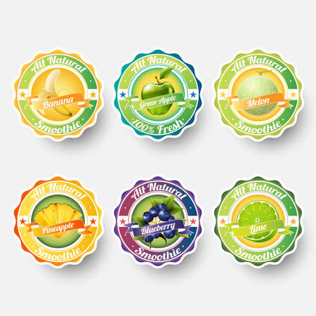 Set of banana, green apple, melon, cantaloupe, pineapple, blueberry, lime, juice,smoothie, milk, cocktail and fresh labels splash. sticker, advertisement concept vector illustration.