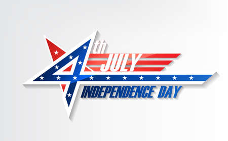 4th of July, United Stated independence day, American national day, design logo badge, vector illustration  イラスト・ベクター素材