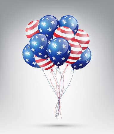 Flying Glossy USA flag pattern Balloons with 4th of July, United Stated independence day, American national day concept, vector illustration