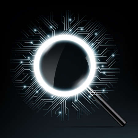 Magnifying glass vector illustration and vector microchip designs, CPU. technology elements with sparkles, blue luminescent circuit boards in the shape of circle. vector illustration