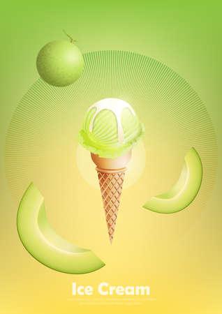 Ice cream cantaloupe melon in the cone