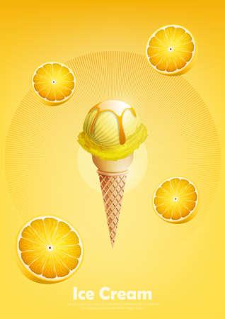 Ice cream lemon in the cone