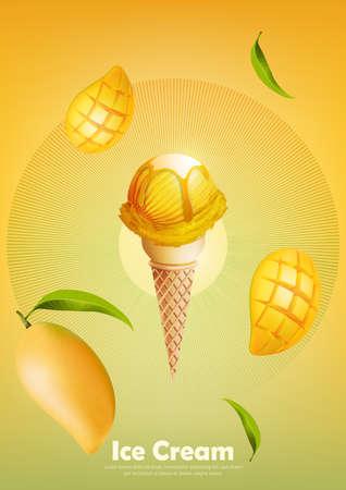 Ice cream mango in the cone