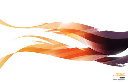 Yellow Orange Purple Ink Stripe Wave Abstract Background, concept fire, vector illustration  イラスト・ベクター素材