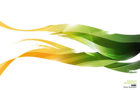 Yellow Green Ink Stripe Wave Abstract Background, concept leaf, vector illustration