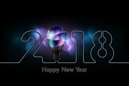 Happy New Year 2018 celebration with glow aurora light bulb and electric wire in form of number, creativity inspiration concept, vector illustration