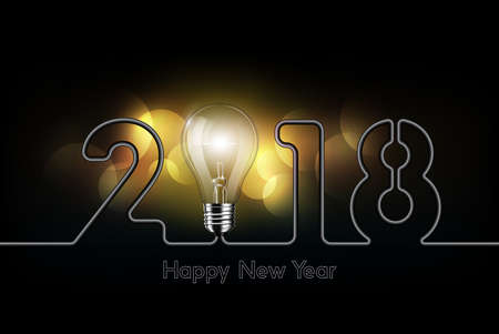 Happy New Year 2018 celebration with glow light bulb and electric wire in form of number, creativity technology concept, vector illustration