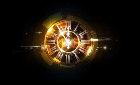 Abstrakter futuristischer Technologie-Hintergrund mit Uhrkonzept und Zeitmaschine, Vektorillustration