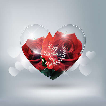 Heart transparent glass and red rose low poly style on heart bokeh background with Valentine's day concept, vector background 矢量图像