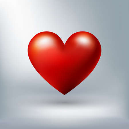 Red shiny heart isolated on white background for valentine concept, perfect proportion, vector illustration
