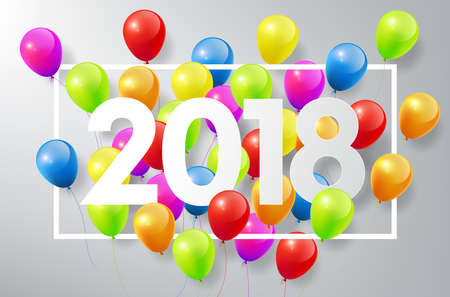 Happy New Year 2018 with colorful balloons, vector illustration