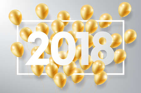 Happy New Year 2018 with gold balloons, vector illustration