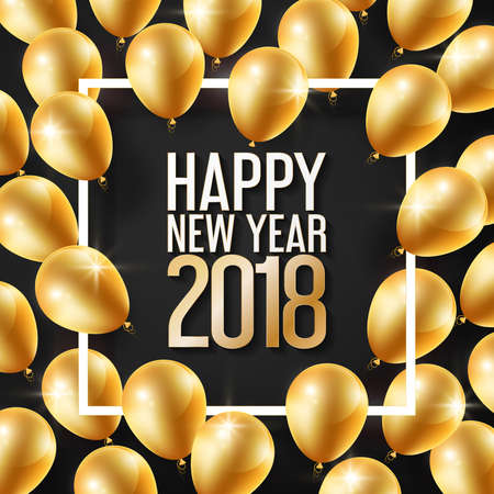 Happy New Year 2018 and white frame with gold balloons, vector illustration