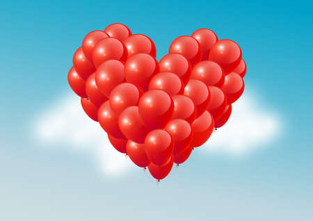 Red heart balloons in blue sky, Happy Valentines Day, vector illustration 矢量图像