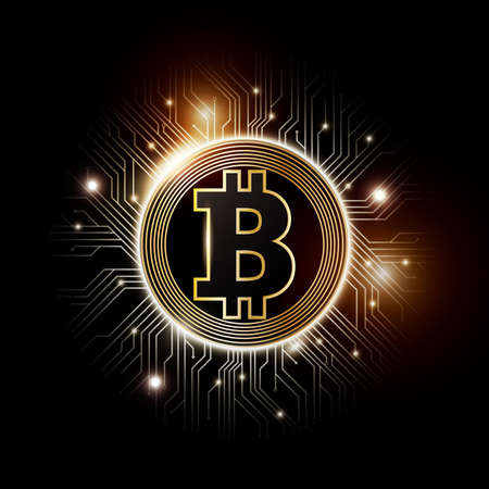 Golden bitcoin digital currency, futuristic digital money, technology worldwide network concept, vector illustration  イラスト・ベクター素材