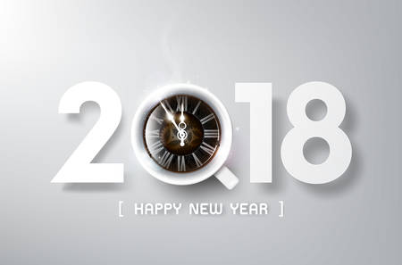 Happy New Year 2018 with coffee and antique clock, relax time and celebration concept, vector illustration
