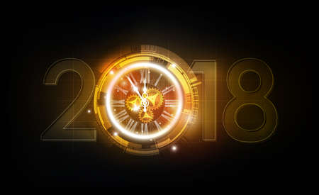 Happy New Year 2018 celebration with golden light abstract clock on futuristic technology background, countdown concept, vector illustration