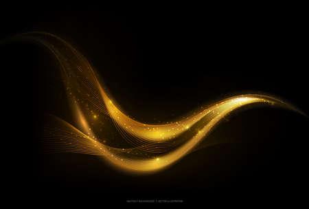 Glänzender abstrakter Goldstreifen auf dunklem Hintergrund, goldener beweglicher Welle mit Glühen und Funkelneffekt, Vektorillustration Vektorgrafik