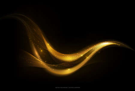 Rayure d'or abstraite brillant sur fond sombre, vague en mouvement doré avec effet de lueur et de paillettes, illustration vectorielle Vecteurs