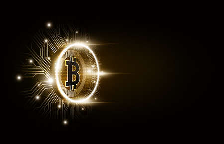 Golden bitcoin digital currency, futuristic digital money, technology worldwide network concept, vector illustration 矢量图像