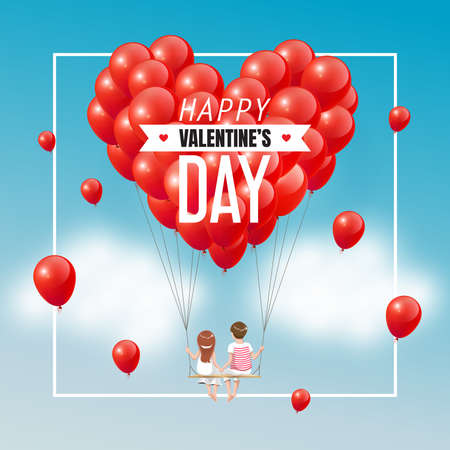 Cartoon lover couple on swing with group of red heart balloons in blue sky and text, Happy Valentines Day, vector illustration