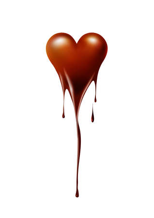 Heart melted chocolate on white background, chocolate lover or Valentines day concept, vector background