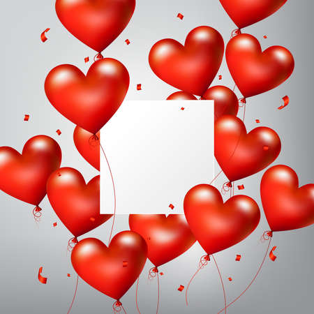 Flying Realistic Glossy Red Heart Balloons with square white blank and confetti particles, Happy Valentines day and Wedding invitation festive decoration, vector illustration  イラスト・ベクター素材