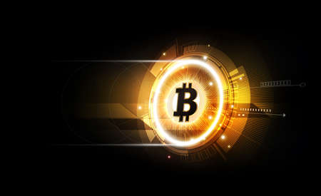 Golden bitcoin digital currency, futuristic digital money, technology worldwide network concept, vector illustration. 矢量图像