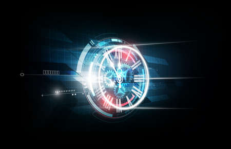 Abstract Futuristic Technology Background with Clock concept and Time Machine, vector illustration Stok Fotoğraf - 93896296
