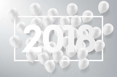 Happy New Year 2018 with white balloon, celebrate concept, vector illustration