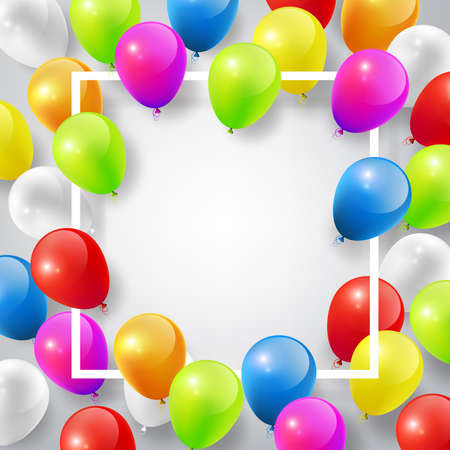 Flying Realistic Glossy Colorful Balloons with square white frame, celebrate concept on white background