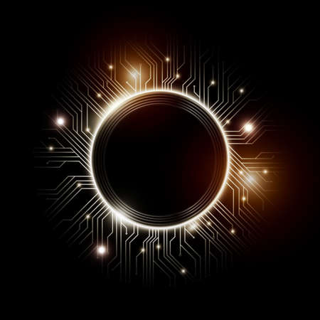 Microchip designs, CPU. Information communication technology elements with sparkles, blue luminescent circuit boards in the shape of circle, vector illustration
