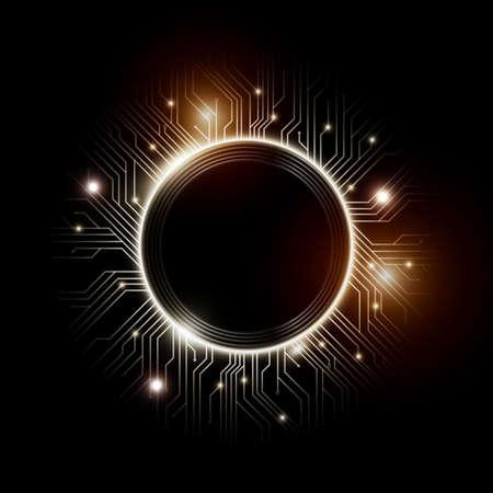 Dessins de micropuces, CPU. Éléments de technologie de communication de l'information avec des étincelles, des cartes de circuit luminescentes bleues en forme de cercle, illustration vectorielle Vecteurs