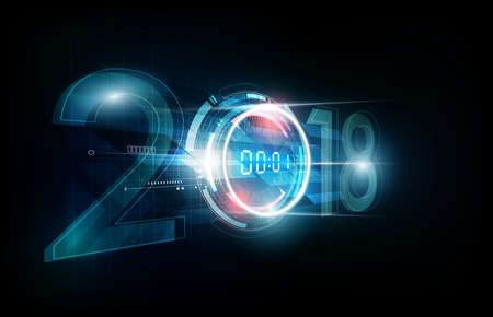 Happy New Year 2018 celebration with white light abstract digital clock on futuristic technology background, countdown concept, vector illustration