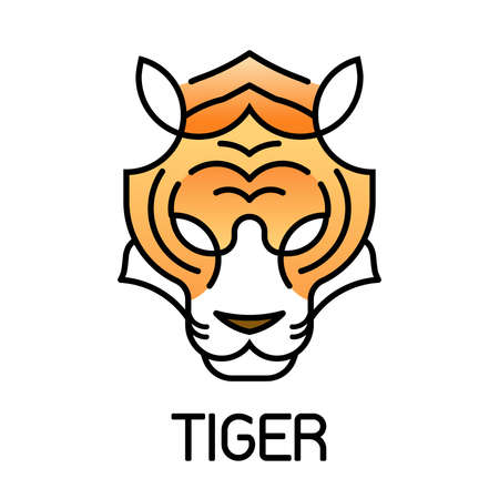 Tiger minimalism head face line icon style for  mascot, Editable Stroke, vector illustration