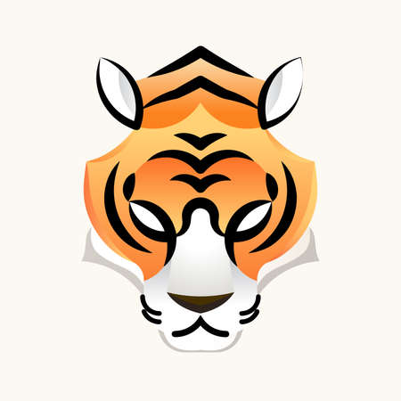 Tiger minimal head face for design icon and mascot, vector illustration