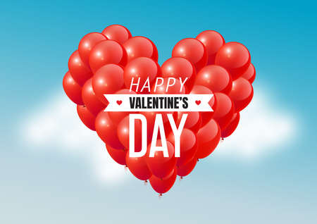 Red heart balloons in blue sky with Happy Valentines Day text, vector illustration