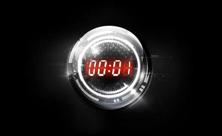Black White Abstract Futuristic Technology Background with Red Digital number timer concept on glass sphere and countdown, vector illustration