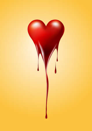 Red Heart melted isolated background, Valentines day or broken heart concept, vector illustration