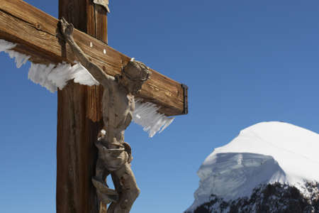 Cross of Jesus Christ in the Swiss Alps Stock Photo - 17169946