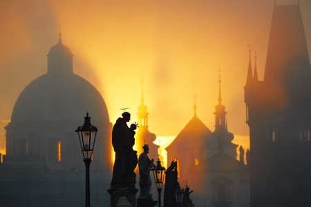 Statues on Charles Bridge, Prague, Czech Republic Stock Photo - 17169996