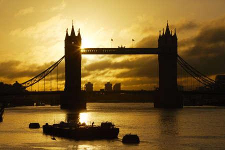 great britain: Silhouette Tower Bridge at sunrise, London, UK