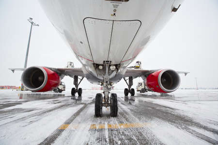 undercarriage: Undercarriage of the airplane in winter